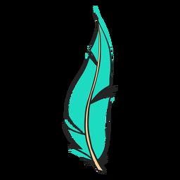 Pluma larga azul dibujada a mano