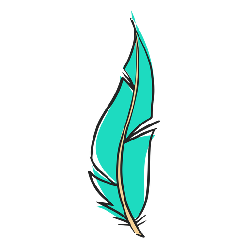 Hand drawn blue long feather