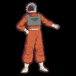 Mão no quadril astronauta colorido