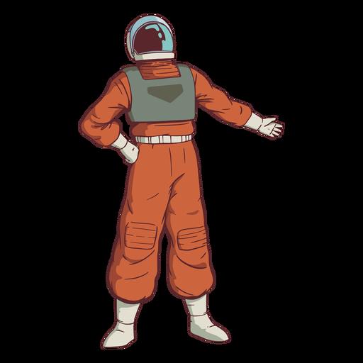 Astronauta colorido de mão no quadril