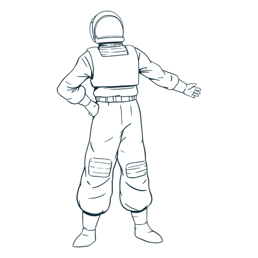 Hand on hip astronaut drawn