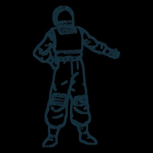 Mano en la cadera astronauta dibujado