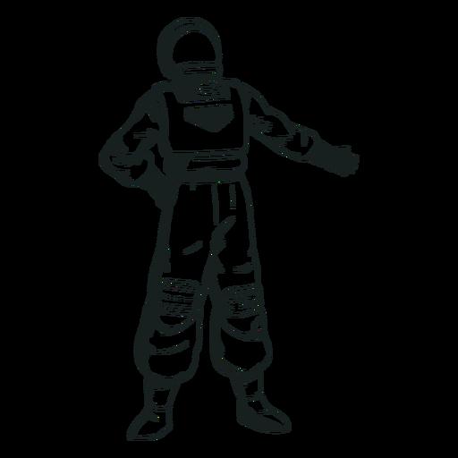 Hand on hip drawn astronaut
