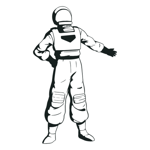 Mão no quadril desenhado astronauta