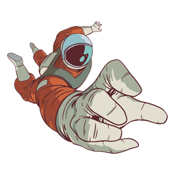 Hand reach astronaut colored