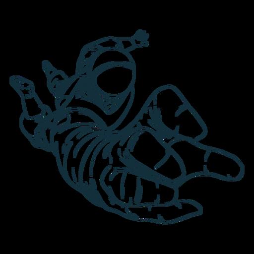 Mano alcance astronauta dibujado