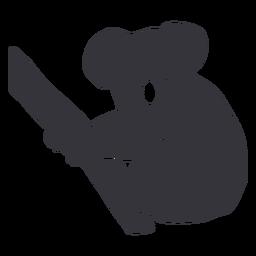 Holding branch koala silhouette