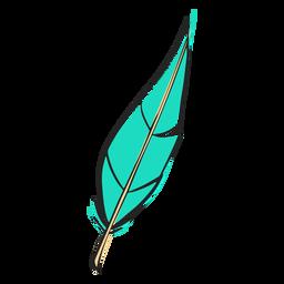 Folha como pena azul