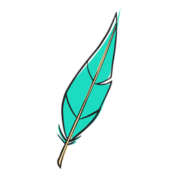 Leaf like blue feather