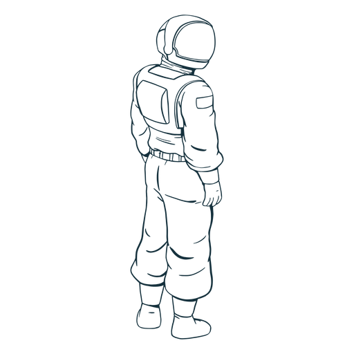 Looking side astronaut drawn
