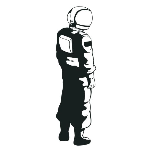 Aspecto del astronauta lateral dibujado genial