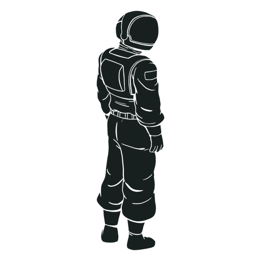 Looking side astronaut silhouette
