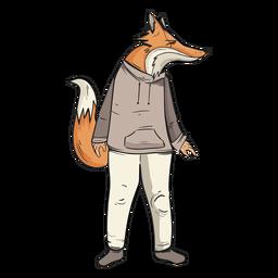 Mann wie Fuchs stehend