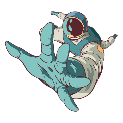 Reaching out astronaut colored