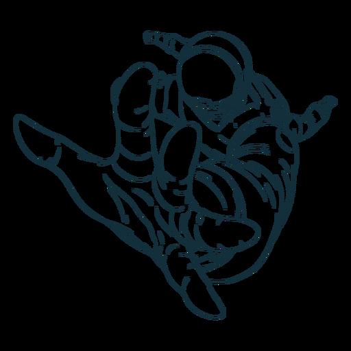 Erreichen des gezeichneten Astronauten