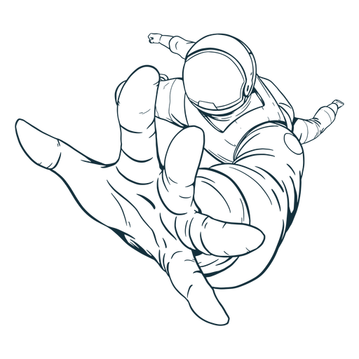 Reaching out astronaut drawn