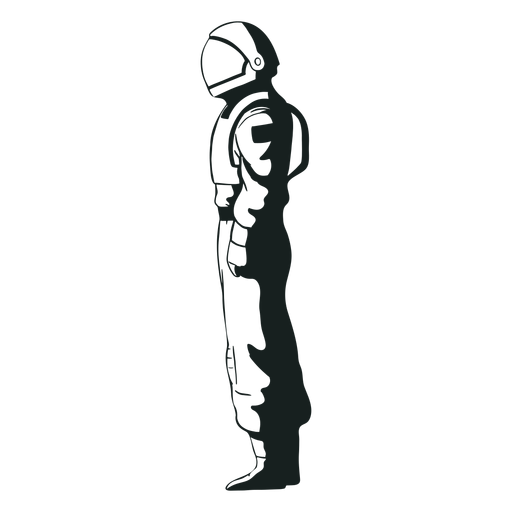 Side view drawn astronaut