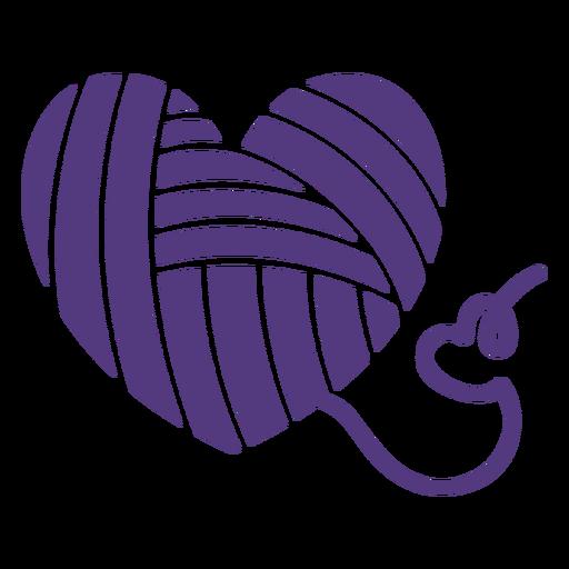 Silueta de corazón en forma de hilos de lana