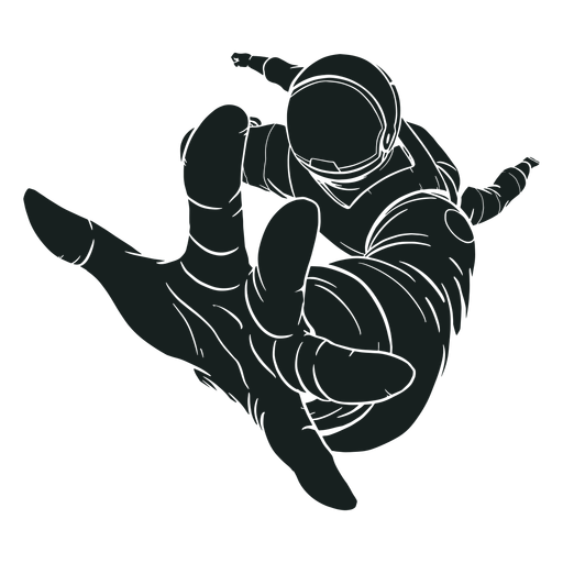 Silhouette reaching out astronaut