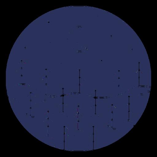 Silhouette snow landscape moon