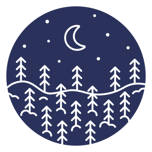 Silueta nieve paisaje luna