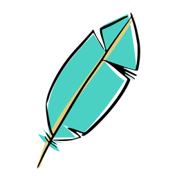 Simple blue feather drawn