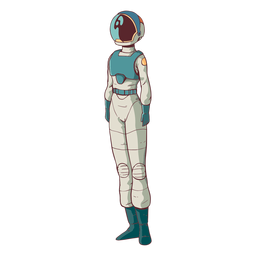 Astronauta de pie simple coloreado