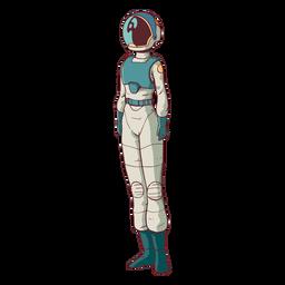 Astronauta em pé simples colorido