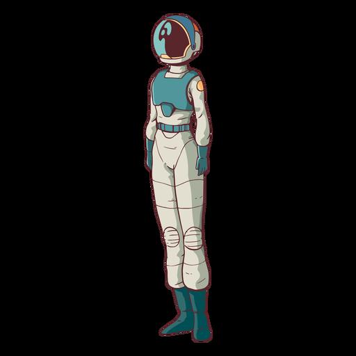 Astronauta de pie simple de color