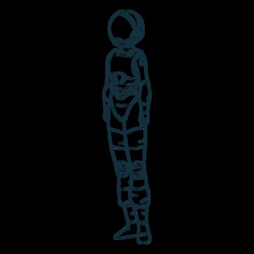 Astronauta de pie simple dibujado