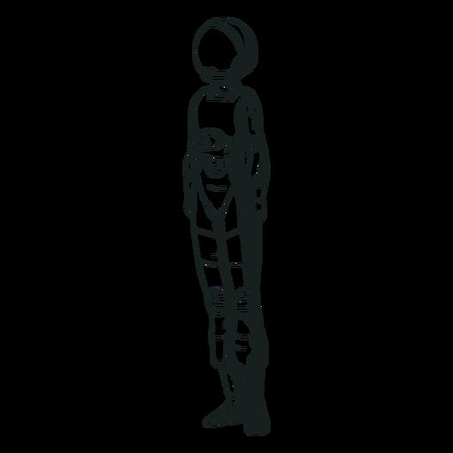 Astronauta desenhado em pé simples