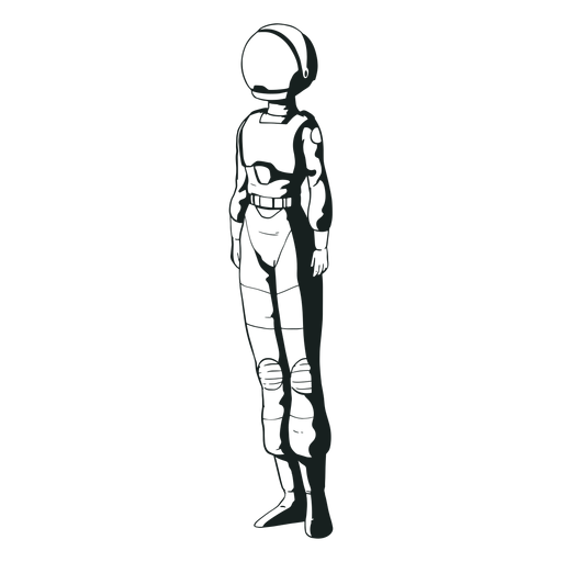 Simple standing drawn astronaut