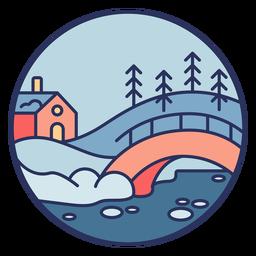 Puente de casa de paisaje de nieve