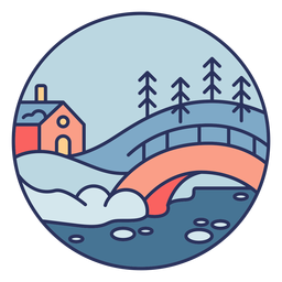 Snow landscape house bridge