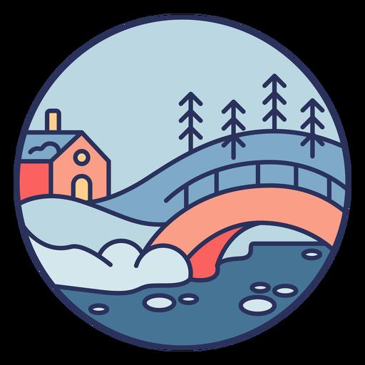 Puente de casa de paisaje de nieve Transparent PNG