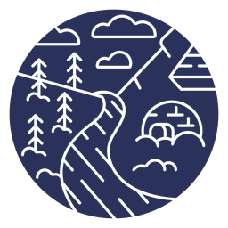Silueta de iglú de paisaje de nieve