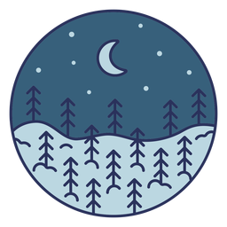 Snow landscape moon