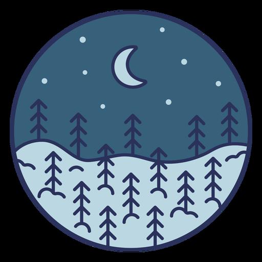 Snow landscape moon