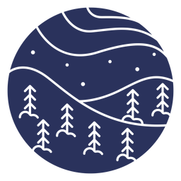 Snow landscape silhouette