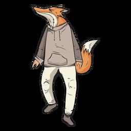Raposa em pé vestindo roupas