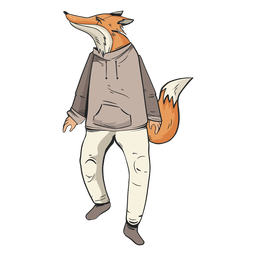 Standing fox wearing clothes