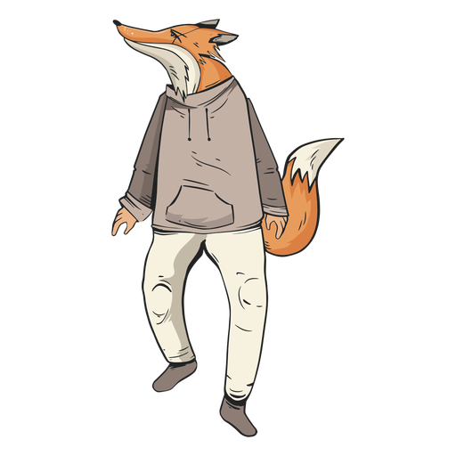 Standing fox wearing clothes Transparent PNG