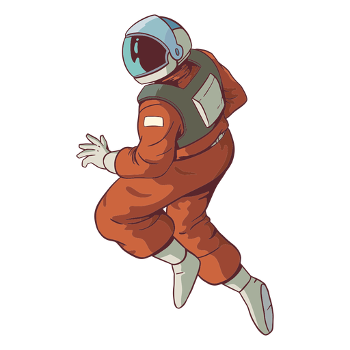 Starke Astronautenpose farbig