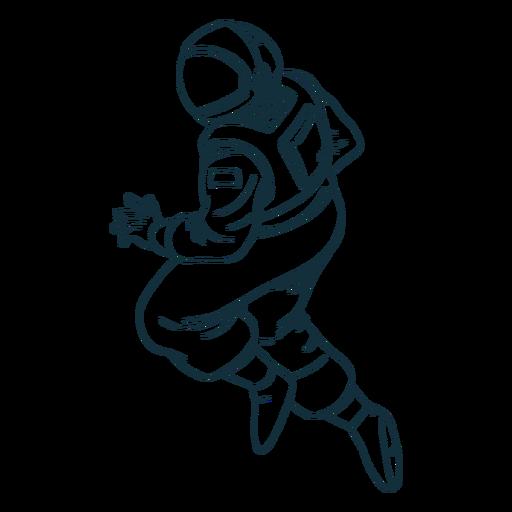 Stout astronaut pose drawn