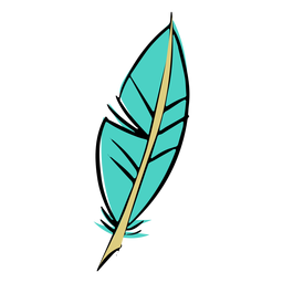 Stroke drawing blue feather