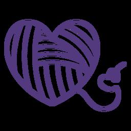 Trazo hilos en forma de corazón lana