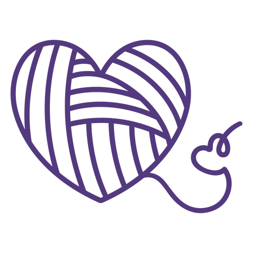 Trazo de hilo en forma de corazón lana