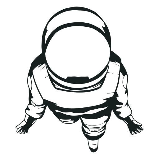 Top view astronaut cool drawn