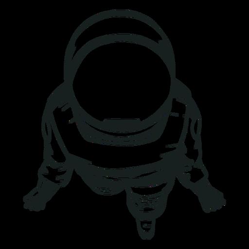 Vista superior do astronauta legal desenhada