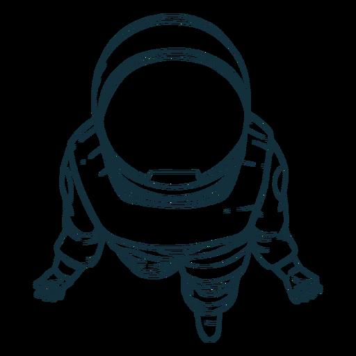 Astronauta de vista superior desenhada